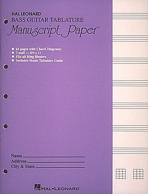 Bass Guitar Tablature Manuscript Paper - laflutedepan.com