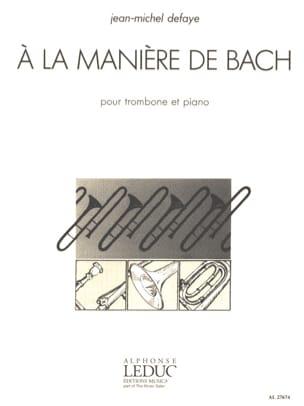 A la Manière de Bach - Jean-Michel Defaye - laflutedepan.com