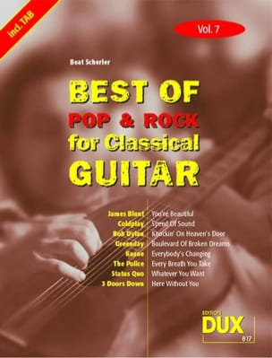 Best of pop & rock for classical guitar volume 7 laflutedepan