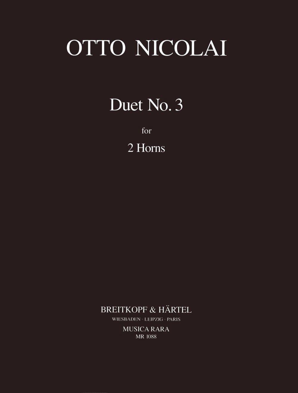 Duet N° 3 pour 2 cors - Otto Nicolai - Partition - laflutedepan.com