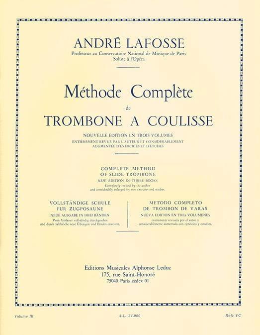 Méthode de Trombone A Coulisse Volume 3 - laflutedepan.com