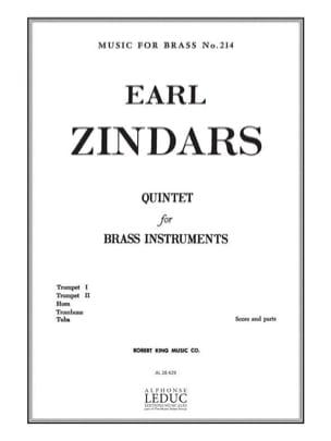 Quintet Earl Zindars Partition Ensemble de cuivres - laflutedepan