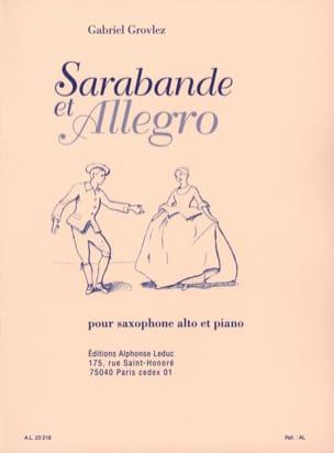 Sarabande Et Allegro Grovlez Partition Saxophone - laflutedepan