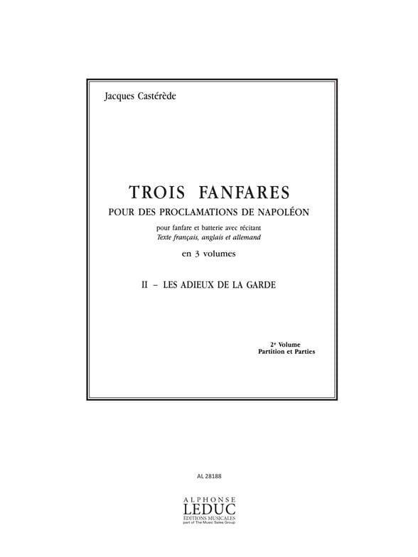 3 Fanfares 2 - Les Adieux de la Garde. 11 Parties - laflutedepan.com