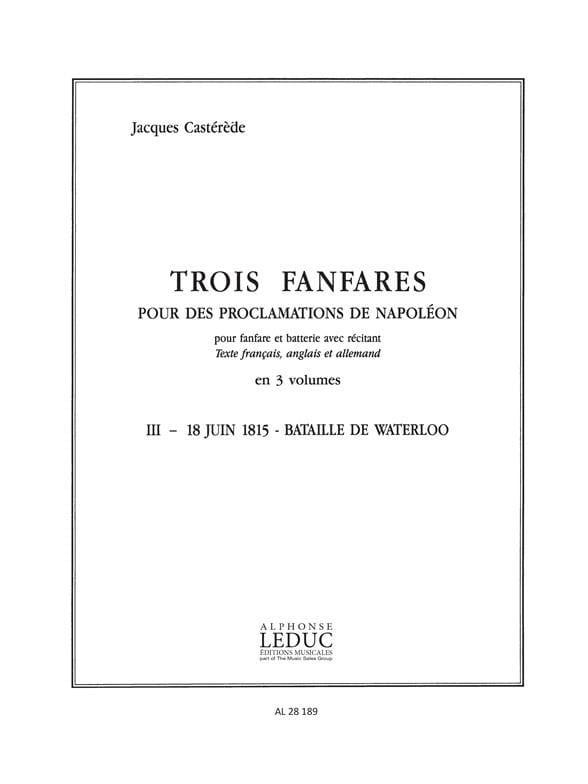 3 Fanfares 3 - 18 juin 1815 - Bataille de Waterloo. 11 Parties - laflutedepan.com