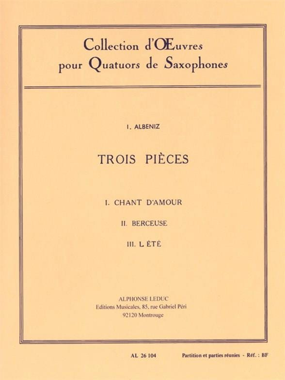 3 Pièces - ALBENIZ - Partition - Saxophone - laflutedepan.com