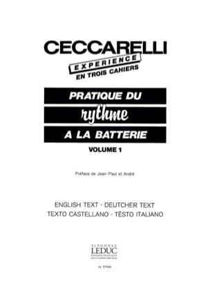 Experience - Pratique du Rythme A la Batterie Volume 1 laflutedepan