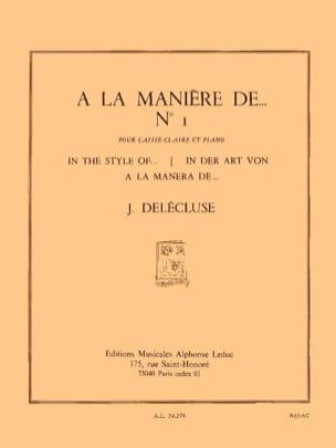 A la Manière De... N° 1 Jacques Delécluse Partition laflutedepan