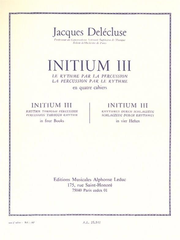 Initium 3 - Jacques Delécluse - Partition - laflutedepan.com