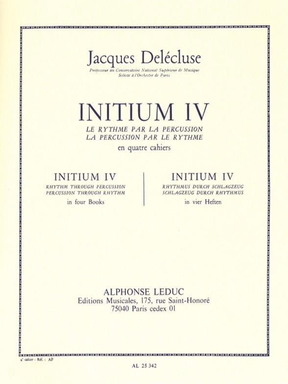 Initium 4 - Jacques Delécluse - Partition - laflutedepan.com