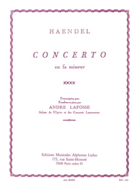 Concerto En Fa Mineur - HAENDEL - Partition - laflutedepan.com