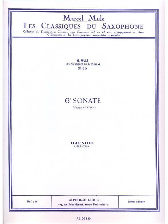 6e sonate violon - HAENDEL - Partition - Saxophone - laflutedepan.com