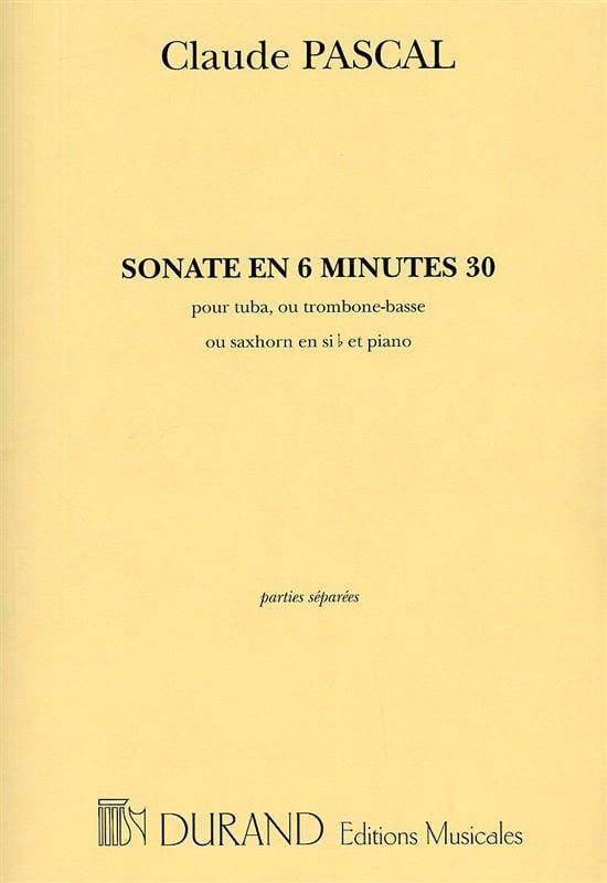 Sonate En 6 Minutes 30 - Claude Pascal - Partition - laflutedepan.com