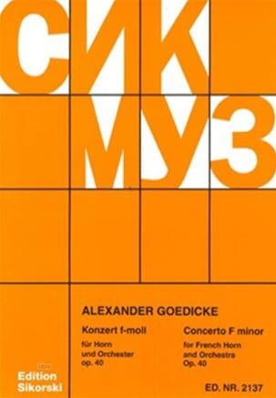 Alexander Goedicke - Concerto In F Minor Opus 40 - Partition - di-arezzo.com