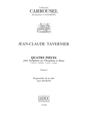 Quatre Pièces - Niveau 2 TAVERNIER Partition Xylophone - laflutedepan