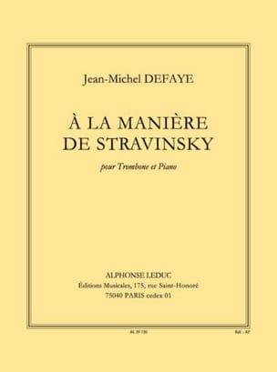 A la Manière de Stravinsky Jean-Michel Defaye Partition laflutedepan