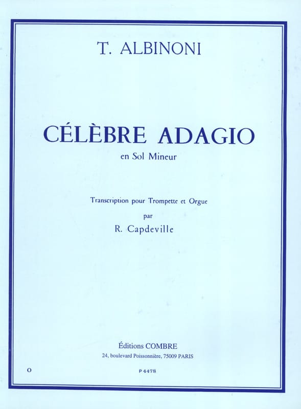 Célèbre Adagio En Sol Mineur - ALBINONI - Partition - laflutedepan.com