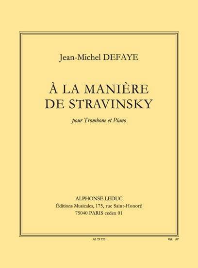 A la Manière de Stravinsky - Jean-Michel Defaye - laflutedepan.com