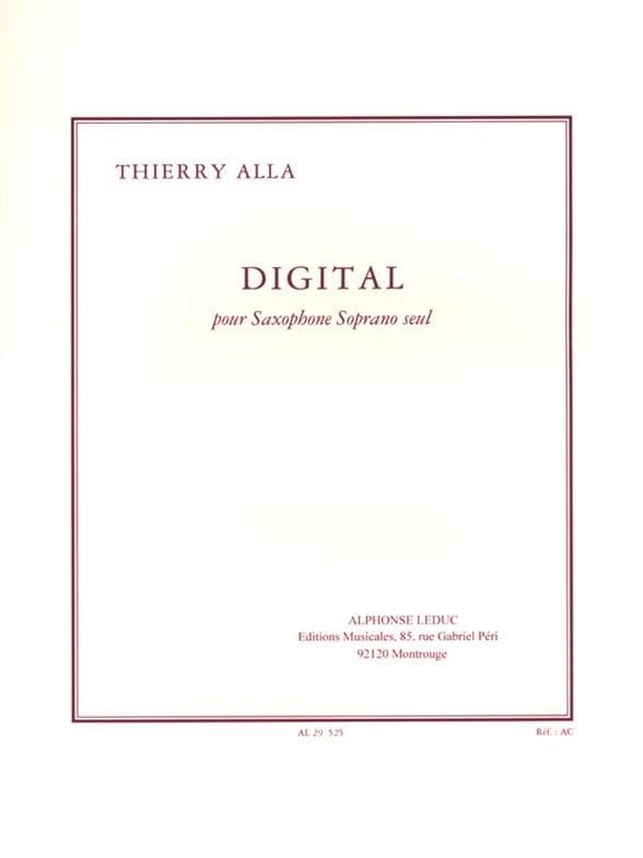 Digital - Thierry Alla - Partition - Saxophone - laflutedepan.com