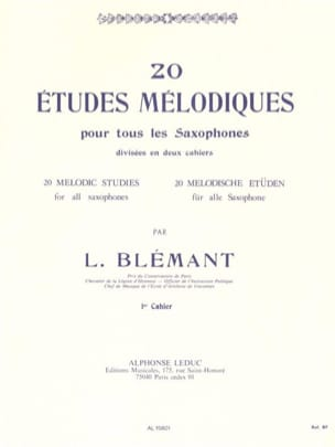 20 Etudes Mélodiques - Volume 1 Louis Blémant Partition laflutedepan