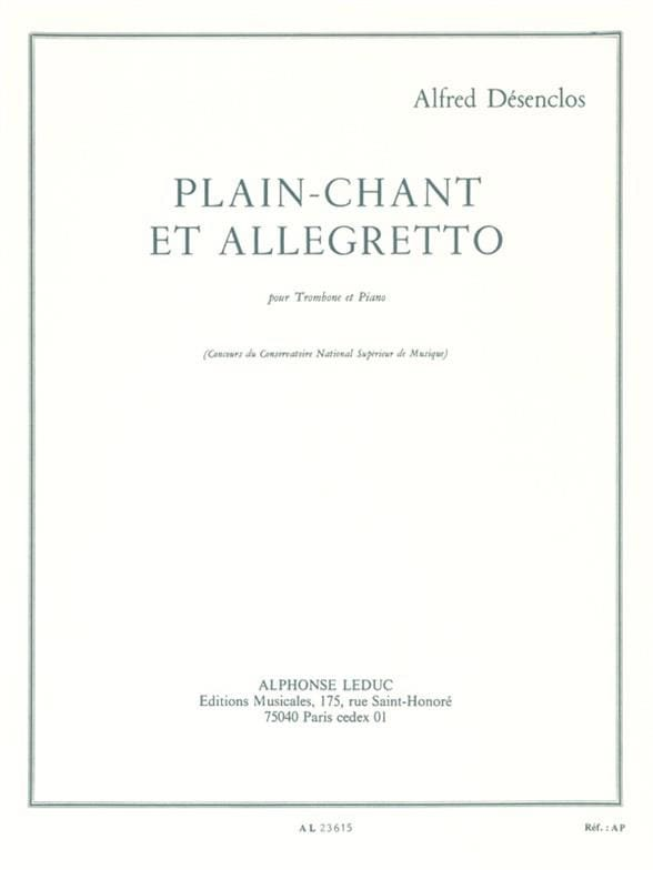 Plain-Chant et Allegretto - Alfred Désenclos - laflutedepan.com