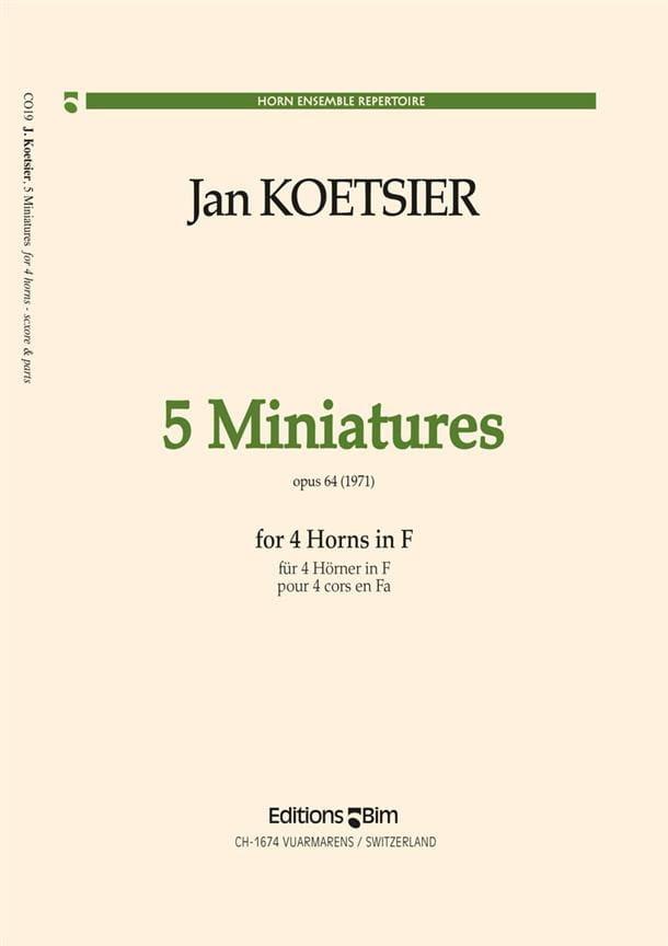 5 Miniatures Opus 64 1971 - Jan Koetsier - laflutedepan.com