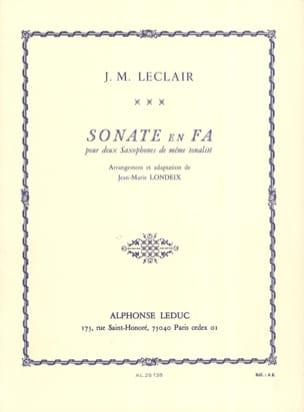Sonate en Fa LECLAIR Partition Saxophone - laflutedepan