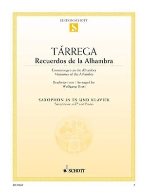 Recuerdos de la Alhambra TARREGA Partition Saxophone - laflutedepan