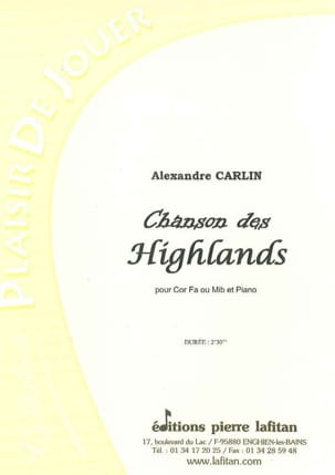 Chanson des Highlands Alexandre Carlin Partition Cor - laflutedepan