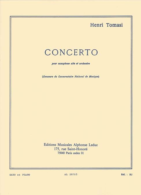Concerto - TOMASI - Partition - Saxophone - laflutedepan.com