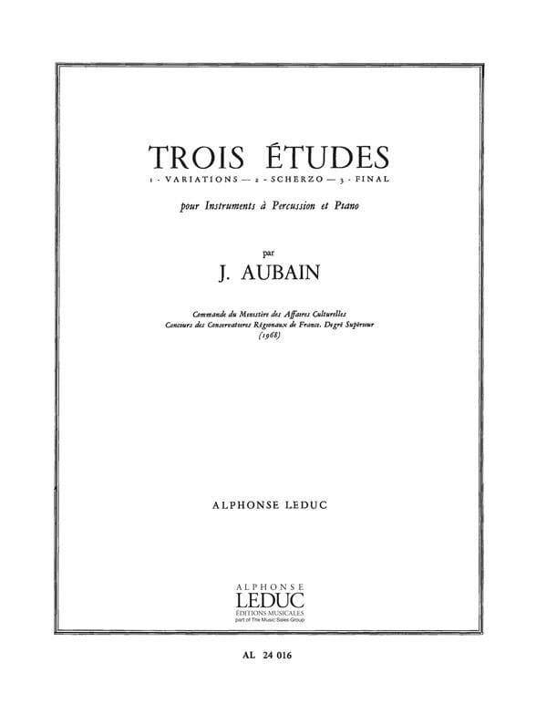 3 Etudes - Jean Aubain - Partition - laflutedepan.com