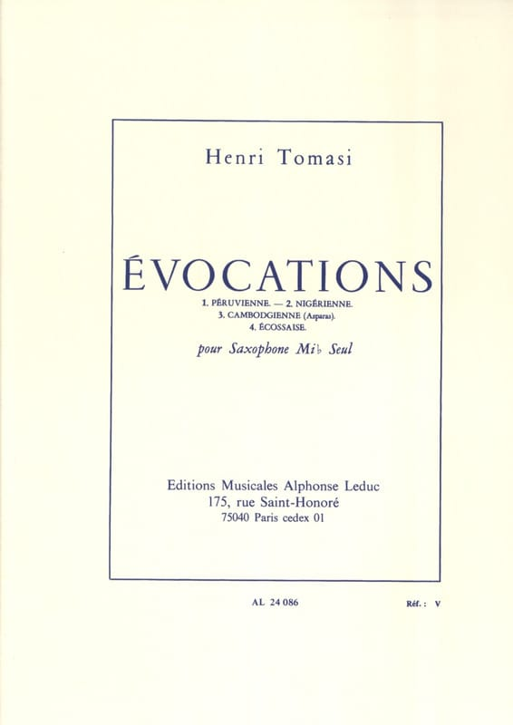 Evocations - TOMASI - Partition - Saxophone - laflutedepan.com