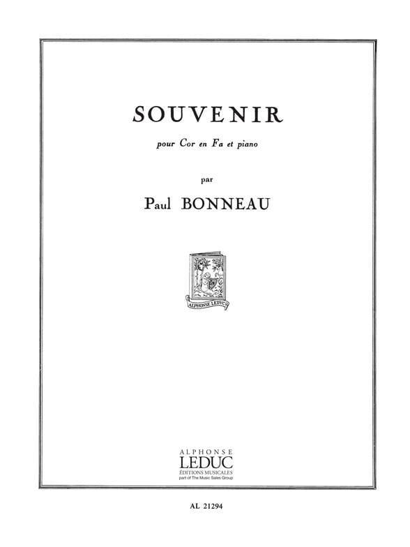 Souvenir - Paul Bonneau - Partition - Cor - laflutedepan.com