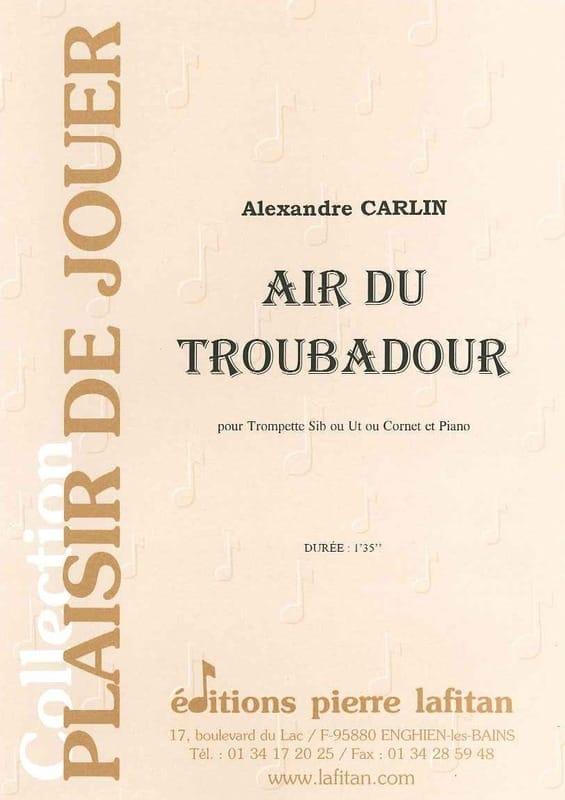 Air du troubadour - Alexandre Carlin - Partition - laflutedepan.com