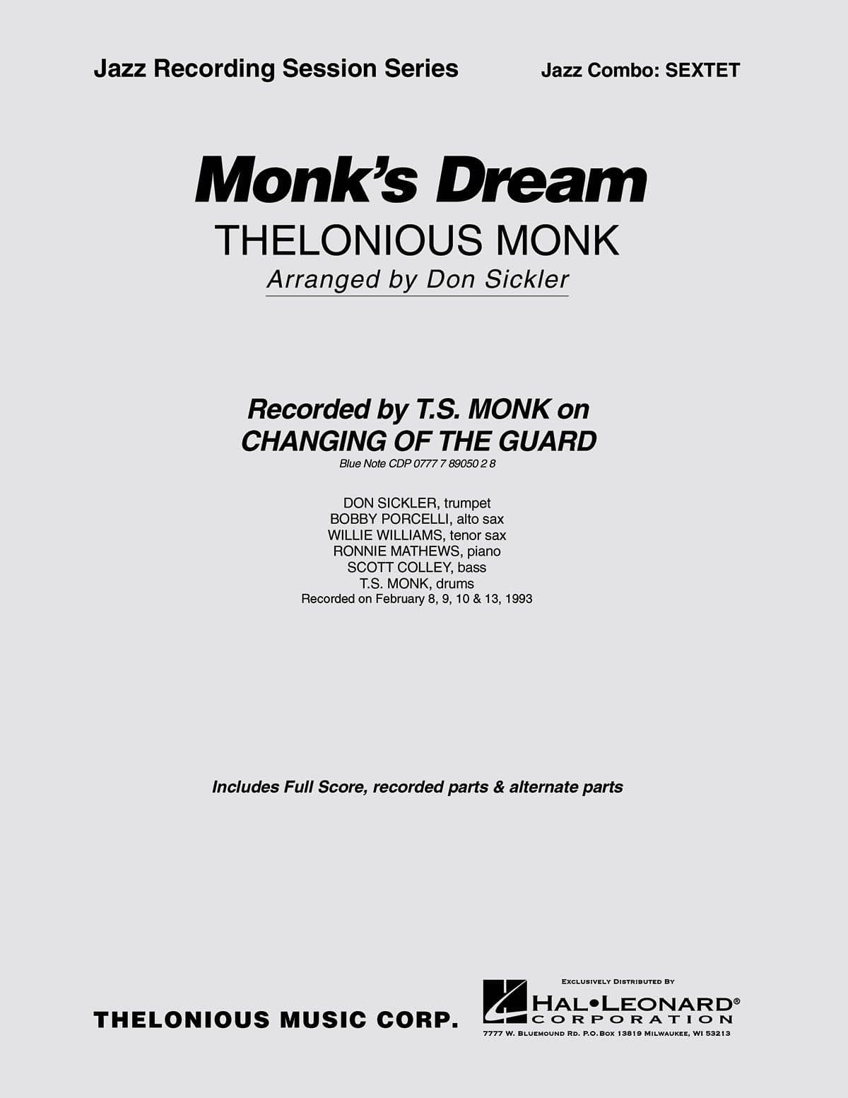Monk's Dream - Thelonious Monk - Partition - laflutedepan.com