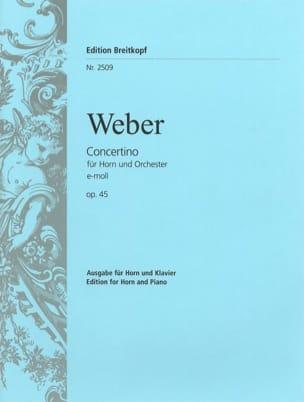 Concertino E-Moll Opus 45 Carl Maria Von Weber Partition laflutedepan