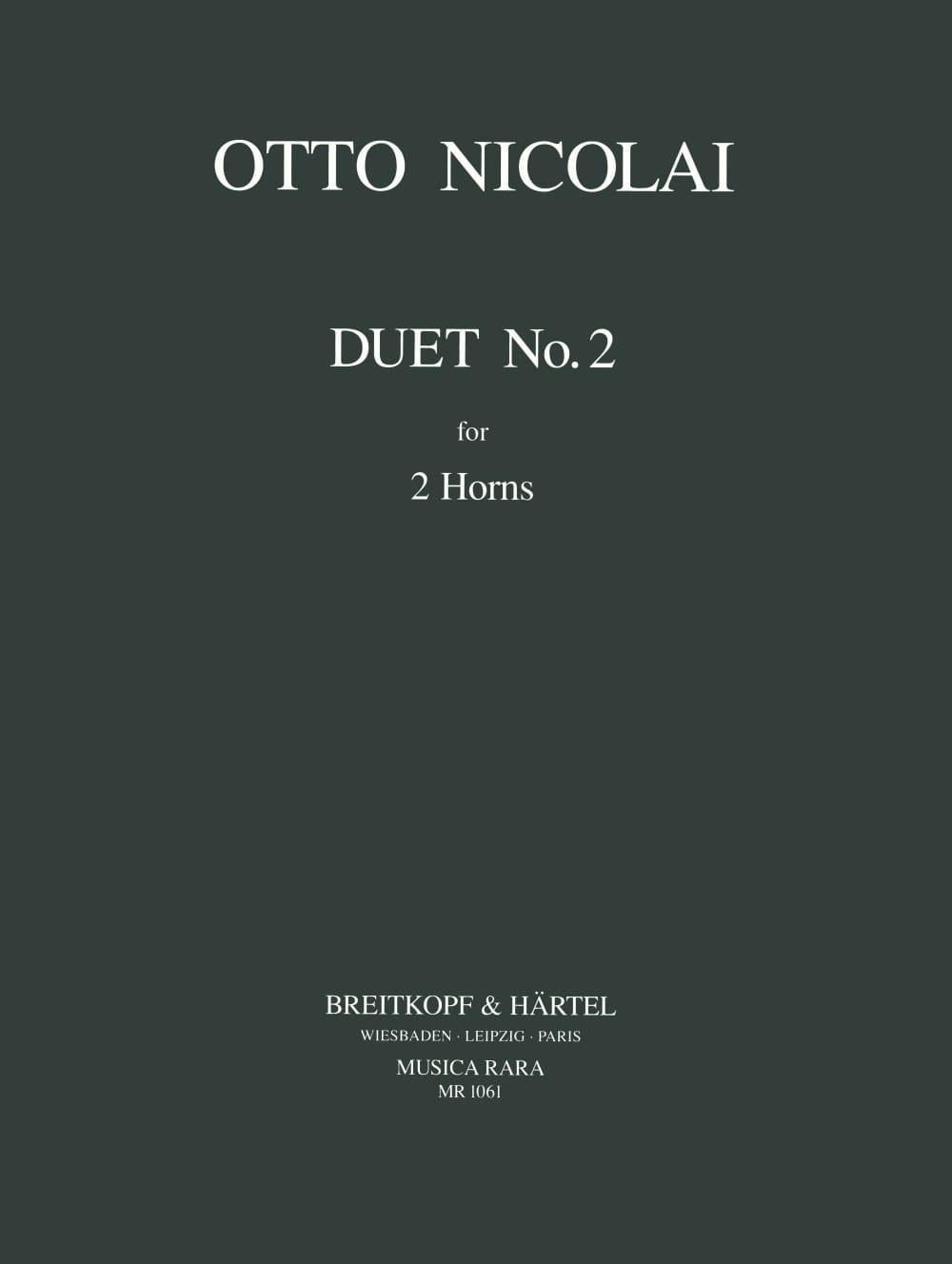 Duet N° 2 - Otto Nicolai - Partition - Cor - laflutedepan.com