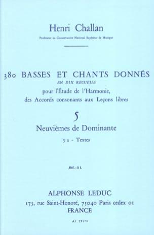 380 BASSES ET CHANTS DONNES, vol 5A: textes Henri CHALLAN laflutedepan