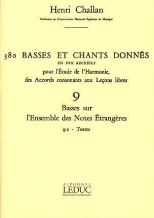 380 Basses et chants donnés - 9a - Textes Henri CHALLAN laflutedepan