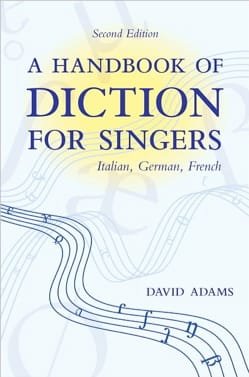 A handbook of diction for singers David ADAMS Livre laflutedepan