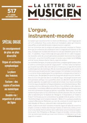 La lettre du musicien, n° 517 - Revue - Livre - laflutedepan.com