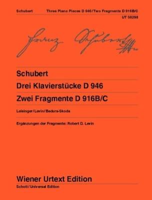 Drei Klavierstücke D 946 - 2 Fragmente D 916 SCHUBERT laflutedepan