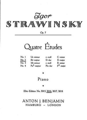 4 Etudes Opus 7-2 STRAVINSKY Partition Piano - laflutedepan