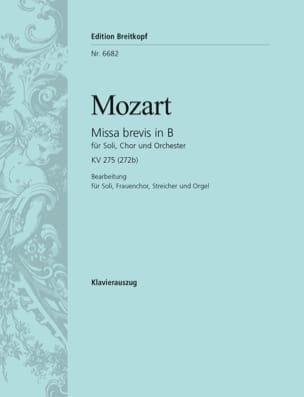 Missa Brevis In B KV 275 272b MOZART Partition Chœur - laflutedepan