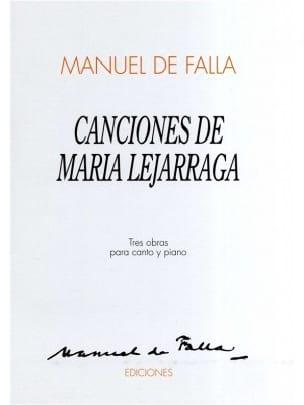 Canciones de Maria Lejarraga DE FALLA Partition laflutedepan