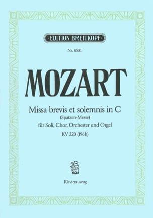 Missa Brevis in C KV 220 196b MOZART Partition Chœur - laflutedepan