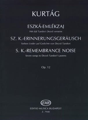 Eszka- Emlekzaj Opus 12. KURTAG Partition Violon - laflutedepan