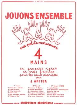 Jouons Ensemble Volume 2. 4 Mains Jean Antiga Partition laflutedepan