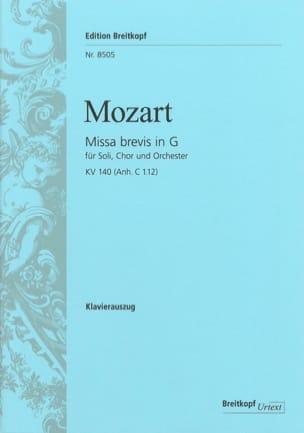 Missa Brevis in G KV 140 MOZART Partition Chœur - laflutedepan