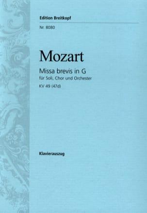 Missa Brevis in G KV 49 47d MOZART Partition Chœur - laflutedepan